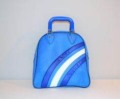 Your place to buy and sell all things handmade Rockabilly Blue, Bowling Bags, Blue Bags, Gym Bag, Buy And Sell, Waves, Stripes, Retro, Handmade