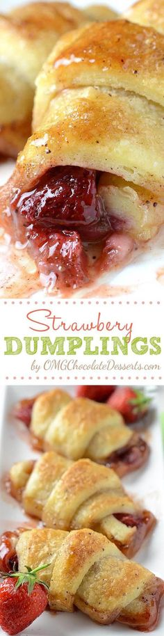 Strawberry Dumplings served with a scoop of vanilla ice cream will be perfect spring and summer treat. #strawberry #recipe #dumplings