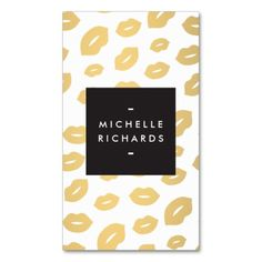 Glam Gold Lip Print for Makeup Artists Business Cards. This great business card design is available for customization. All text style, colors, sizes can be modified to fit your needs. Just click the image to learn more!