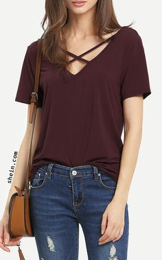 Shop Criss Cross Front Casual T-shirt online. SheIn offers Criss Cross Front Casual T-shirt & more to fit your fashionable needs. Shirts & Tops, Casual T Shirts, Plain T Shirts, Casual Tops, Women's Tops, Tee Shirts, News Fashion, Girl Fashion, Womens Fashion