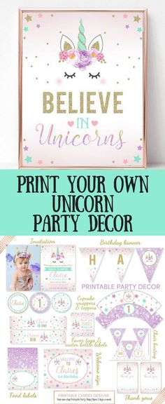Printable unicorn party decor kit, editable at home.  Banners, invitations, signs. #unicorn #party #partydecor #birthdayparty #partytheme #unicorntheme #uncornio #printable #affiliate #etsy