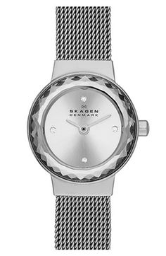 Skagen 'Leonora' Faceted Bezel Mesh Strap Watch, 20mm available at #Nordstrom