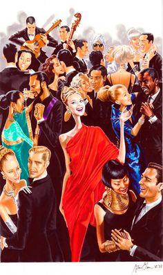 Cocktail Party <3  ~ Arturo Elena Fashion illustration