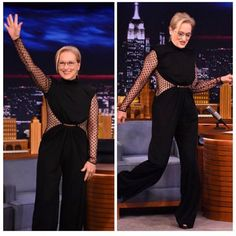 #MerylStreep wears Balmain PreFall 15 jumpsuit at The Tonight Show with Jimmy Fallon
