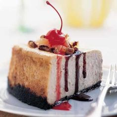 Recipe for Banana Split Cheesecake - This cheesecake has everything...  Banana, chocolate, pineapple and strawberry are just a few of the flavors that stand out in this dessert reminiscent of your all-time favorite ice cream sundae.