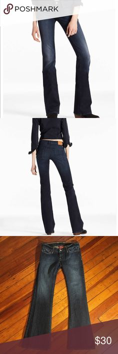 """Lucky Brand Lil Maggie Low Rise Flare Jeans Lucky Brand Lil Maggie Low Rise Flare Jeans. Size: 0/25 (short inseam). Ultra low-rise, slim fit through the hip and thigh with a wide flare. 99% cotton. Minor wear at hem. Inseam: 30"""". Length: 38"""". Rise: 6 1/2"""". All measurements taken laying flat without stretching.  First two photos for styling purposes only. Lucky Brand Jeans Flare & Wide Leg"""
