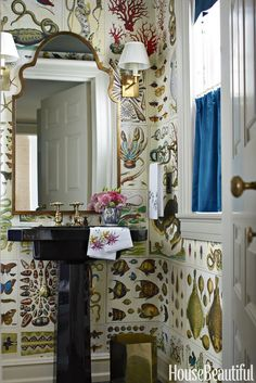 Instead of wallpaper used pages from the the iconic book Cabinet of Natural Curiosities Bathroom Wallpaper, Of Wallpaper, Chinoiserie, Book Cabinet, Art Cabinet, Bathroom Remodel Cost, Natural Curiosities, Small Bathroom, Bathroom Ideas