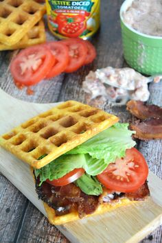 Crispy and sweet cornbread waffles are layered with smoky bacon, fresh lettuce, creamy avocado and garlic aioli for a delicious twist on the classic BLT!