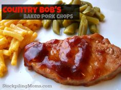 Country Bob's Baked Pork Chops is an easy dinner meal that you can make in less than 30 minutes! Oven Pork Chops, Boneless Pork Chops, Baked Pork Chops, Mediteranian Diet Recipes, Beef Steak Recipes, Cooking Recipes, Healthy Recipes, Healthy Dinners, Chops Recipe