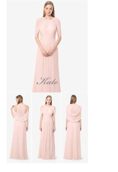 Kate bridesmaid gown in rose quart.  Wear it as an attached cape or cowl....your choice! By David Tutera for Gather & Gown