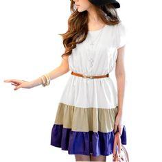 TOPSELLER! Allegra K Lady Scoop Neck Short Sleeve Mini Dress Khaki Blue XS $9.32