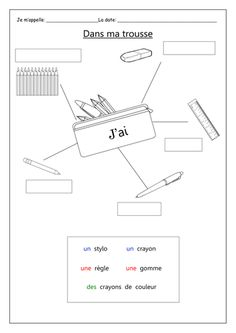 Introducing vocabulary for pencil case items and practice for using the expression 'j&'ai&'; or 'je n&'ai pas. Please take the time to leave a . French Teaching Resources, Teaching French, French Lessons For Beginners, Learning French For Kids, Teaching Aids, Teaching Tools, French Language Lessons, French Worksheets, French Grammar