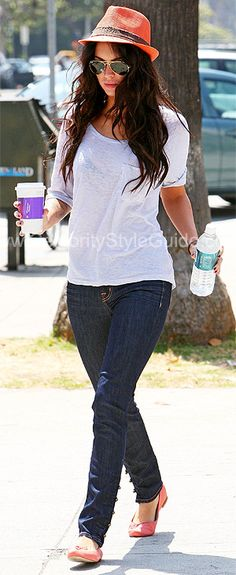 """Megan Fox Style and Fashion - J Brand Calvary 11"""" Skinny with Military Buttons - Celebrity Style Guide"""