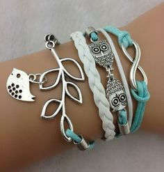 3pcs Infinity, Owls & Lucky Branch/Leaf and Lovely Bird Charm Bracelet in Silver - Mint Green Wax Cords and Leather Braid - 921 $3.93