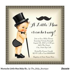 Mustache Little Man Baby Shower 5.25x5.25 Square Paper Invitation Card