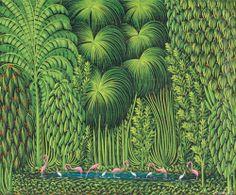 Henri Robert Brésil, (Haiti, 1952 - The jungle with flamingos and exotic birds Henri Rousseau, Art Haïtien, Art Tropical, Oil Canvas, Jungle Art, Haitian Art, Caribbean Art, Eleven Paris, Naive Art
