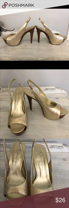 Jessica Simpson gold high heels! Jessica Simpson gold high heels! Size 6 These babies are perfect for your closet! The gold color and open toe shoe will get you noticed when you walk into any room!  Only wore just a few times. Jessica Simpson Shoes Heels