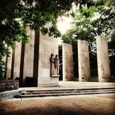 Virginia Tech War Memorial Pylons in summer. (Photo by Peter Means) #virginiatech #hokies