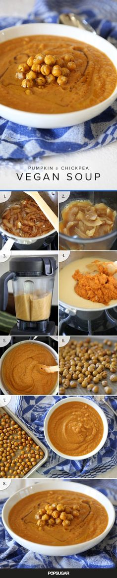 This recipe requires little-to-no effort and appeals to almost every dietary preference under the sun — dairy-free, vegan, and gluten-free. The best part of the soup has to be the crunchy chickpeas on top, made by roasting the legumes in a high-heat oven. Vegan Pumpkin, Pumpkin Soup, Vegan Vegetarian, Vegetarian Recipes, Vegan Soups, Soup Recipes, Cooking Recipes, Fall Recipes, Diet Recipes