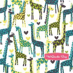 It's A Boy Thing Lagoon Giraffe Love Yardage SKU# CX5177-LAGO-D - Fat Quarter Shop