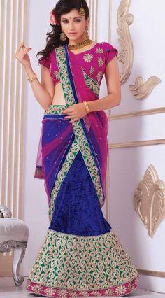 $118.82 Blue Embroidered and Stone Work Velvet Wedding Chaniya Choli 25794