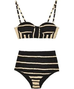 Shakuhachi black and white bustier bikini | AnOther Loves