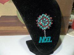Christmas Wreath Brooch with Noel Dangle | HiddenHummingbirdDesigns - Jewelry on ArtFire
