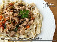 Tallarimis con salsa de queso y taquitos de pavo: Recetas Dukan