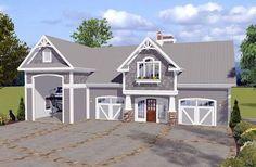 Garage Plan 74841 | Craftsman Plan with 1240 Sq. Ft., 1 Bedrooms, 2 Bathrooms, 3 Car Garage