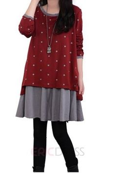 Ericdress Admirable Polka Dot Long Sleeve Casual Dress Casual Dresses