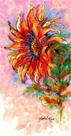 One Sunflower Painting by Marion Rose