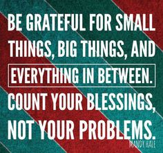 Be grateful for small things, big things, and everything in between.  Count your blessings, not your problems.