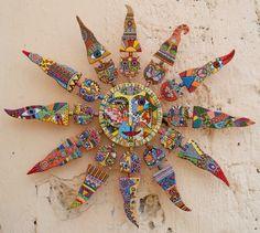 "Ceramic wall clock, wall clock, ceramic panel, ceramics and pottery, ceramic cat, ceramic sun ""Solar cats"""