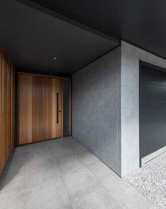 Front door inspo, concrete look etc Interior Cladding, Exterior Wall Cladding, House Cladding, Facade House, House Outer Design, Modern House Design, Modern House Facades, Modern House Plans, Front Wall Design