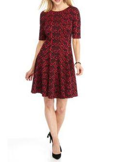 Julian Taylor RedBlack Printed Fit and Flare Dress