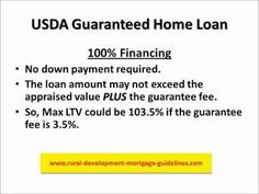 USDA Guaranteed Mortgage, http://www.rural-development-mortgage-guidelines.com is a no money down loan. http://youtu.be/Q66rki5t14k