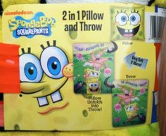 Nickelodeon Spongebob Squarepants Jelly Fish Chase 2 in 1 Pillow and Throw by Viacom International. $29.95. Pillow Unfolds into Throw!. 2 in 1 Pillow and Throw. Machine washable.. Very Soft and Warm!. Throw and Pillow are 100% Polyester. This is a 2 in 1 Spongebob Pillow and Throw that you can tuck your feet into the pocket for extra warmth!