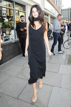 Celebrity Street Style    Picture    Description  Selena Gomez wears a slip dress, skinny scarf, and barely-there heels    - #StreetStyle https://looks.tn/celebrity/street-style/celebrity-street-style-selena-gomez-wears-a-slip-dress-skinny-scarf-and-barely-there-heels/