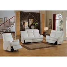 Superb Amax Toledo White Top Grain Leather Lay Flat Reclining Sofa, Loveseat, And  Chair