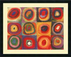 "0-028287>32x26"" Wassily Kandinsky Farbstudie Quadrate 1913 Framed Print"