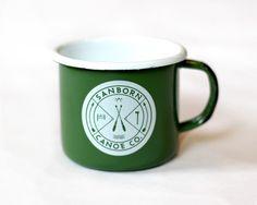 Sanborn Canoe Co. enamel camp mug.