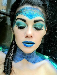 uncategorized Mermaid or fish? I find the colors and especially the scales here . Mermaid or fish? Little Mermaid Makeup, The Little Mermaid, Fish Makeup, Makeup Art, Makeup Ideas, Rainbow Fish, Rainbow Hair, Fish Fancy Dress, Whoville Hair