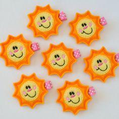 You are My Sunshine Felt Hair Clip - A cute yellow felt sunshine clippie - Spring and Summer felt hair bows