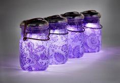 lumière solaire bocaux Mason millésime atlas et plateau en verre boule ..  main: découpage taille pinte - jeu de quatre décor dentelle de mariage violet