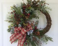 Christmas Wreath-Rustic Wreath-Holiday Wreath-Winter Wreath-Grapevine Wreath-Country Christmas-Natural Wreath-Country Wreaths by ReginasGarden on Etsy Frame Wreath, Diy Wreath, Grapevine Wreath, Country Wreaths, Holiday Wreaths, Winter Wreaths, Wreath Making Supplies, Harvest Decorations, Country Christmas