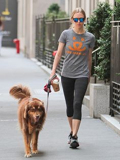 Amanda Seyfried, rocking sporty shades with blue flash lenses, took a stroll with her favorite pal by her side: her pup, Finn, of course!