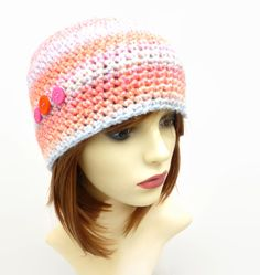 Festival Pastel Orange and Pink Hat with Button Detail Adult Felt Hair Clips, Pink Hat, Sheep Wool, Hand Stitching, Wool Felt, Handmade Items, Crochet Hats, Crafty, Pearls