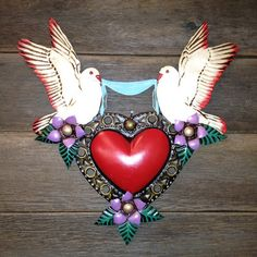 DOVES IN LOVE MEXICAN HEART