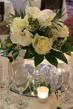 60th diamond white Wedding Anniversary floral arrangements | table design included Mary's favourite Blooms White Freesia, White ...