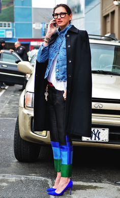 Jenna Lyons in a layered coat, jean jacket, white tee, color block Celine pants & blue heels #style #fashion #streetstyle
